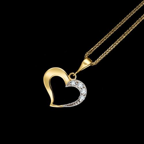 Złota zawieszka - Serce z cyrkoniami pr.585