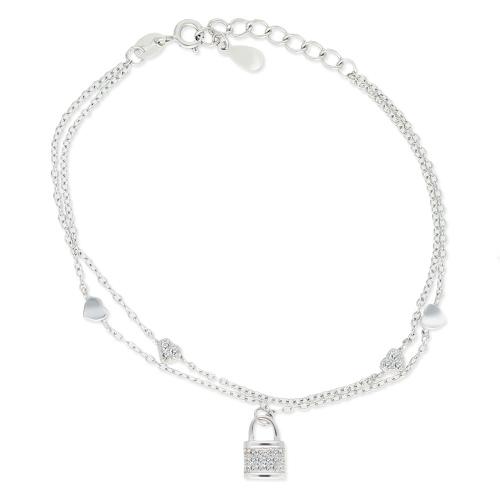 Srebrna bransoletka celebrytka - Miłosna Kłódka pr.925