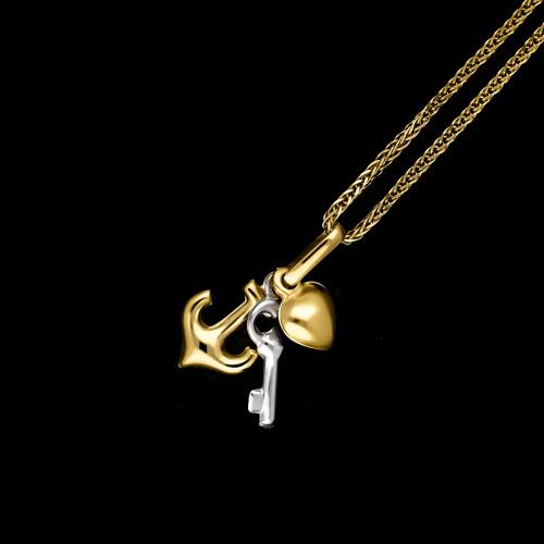 Złota zawieszka - Wiara, Nadzieja, Miłość pr.333