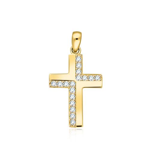 Złota zawieszka z cyrkoniami - Krzyżyk pr.333