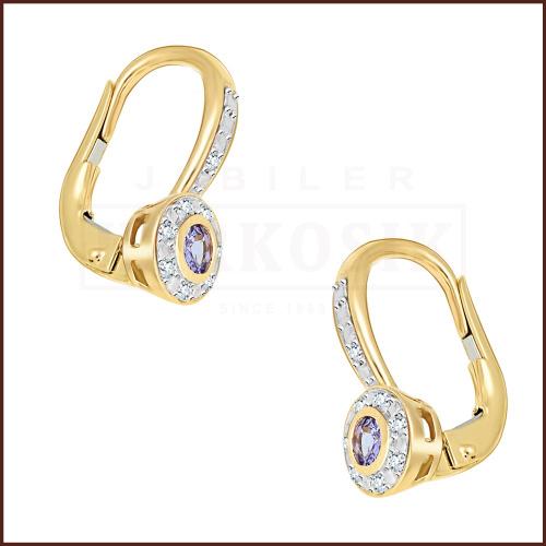 Złote kolczyki z diamentami i tanzenitami 0,24ct pr.585