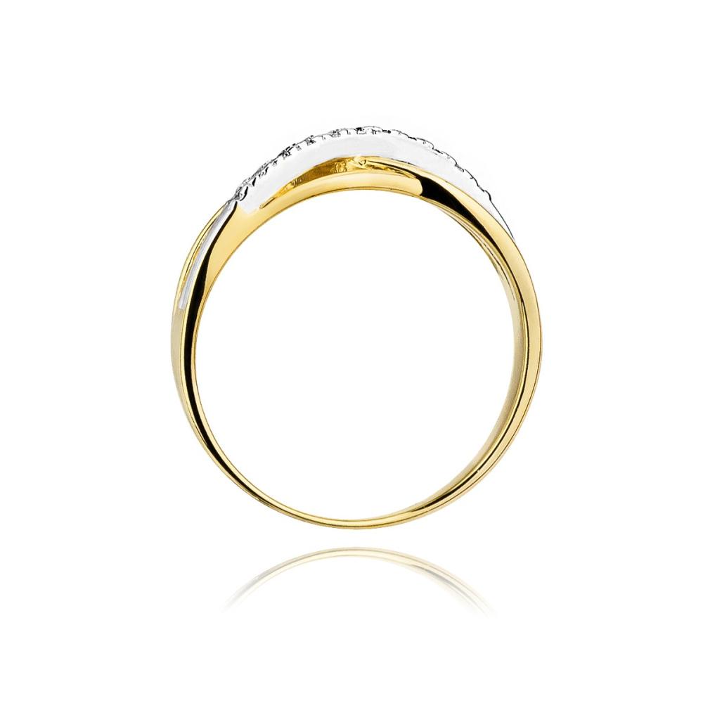 Pierścionek zaręczynowy 585 złoto z brylantami 0,10ct