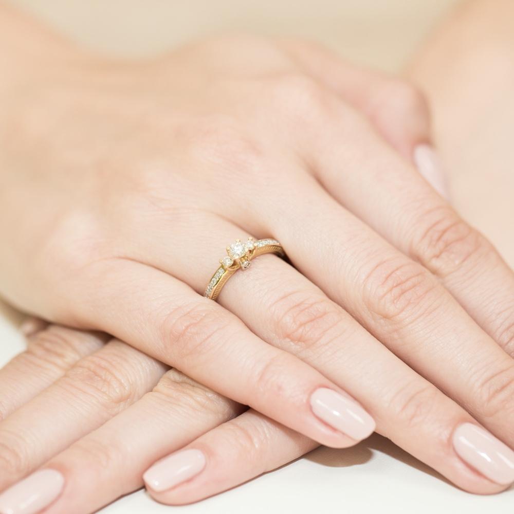 Pierścionek zaręczynowy 585 złoto z brylantami 0,42ct