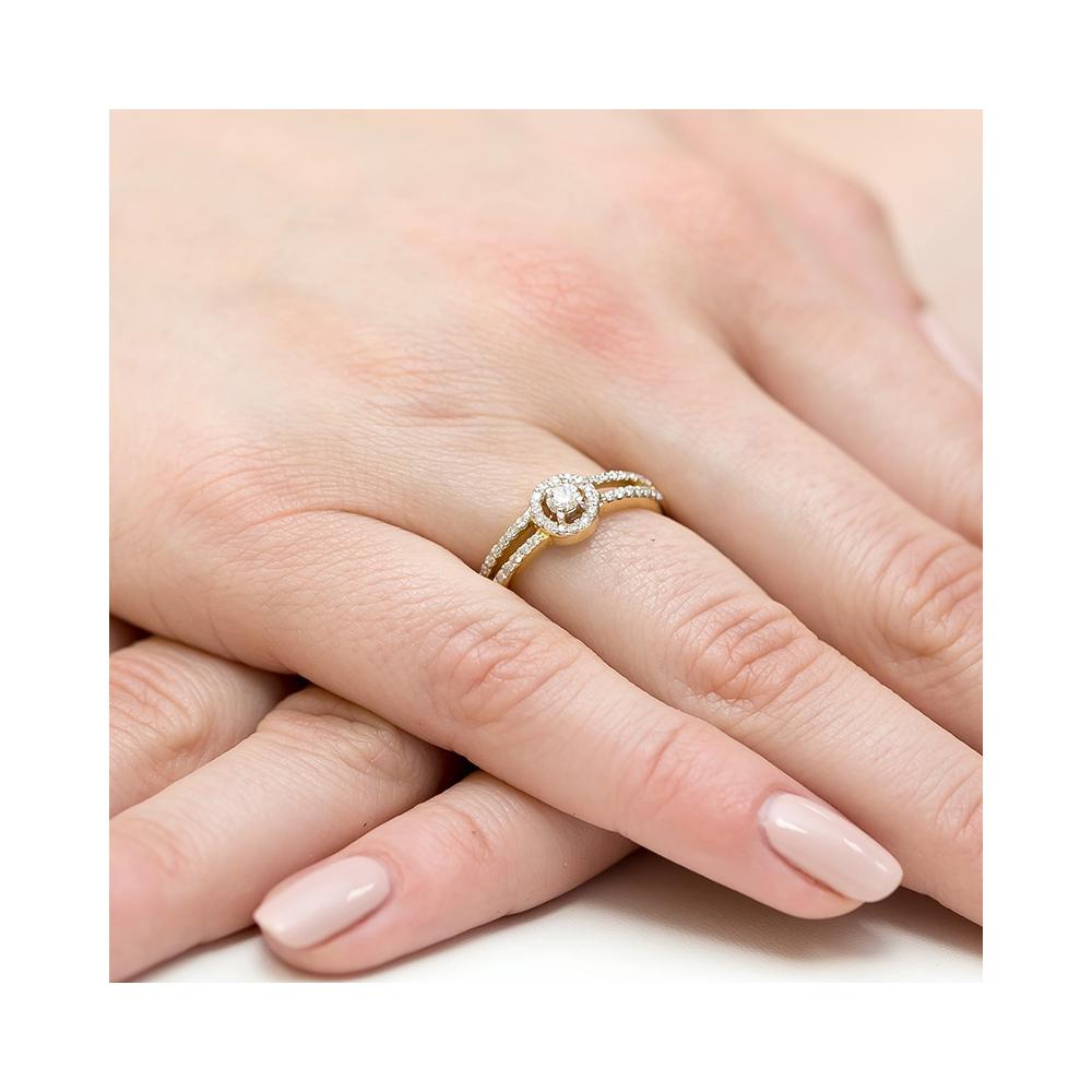 Pierścionek zaręczynowy 585 złoto z brylantami 0,31ct