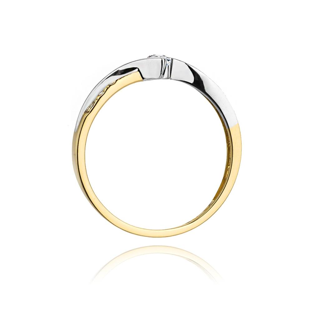 Pierścionek zaręczynowy 585 złoto z brylantami 0,16ct