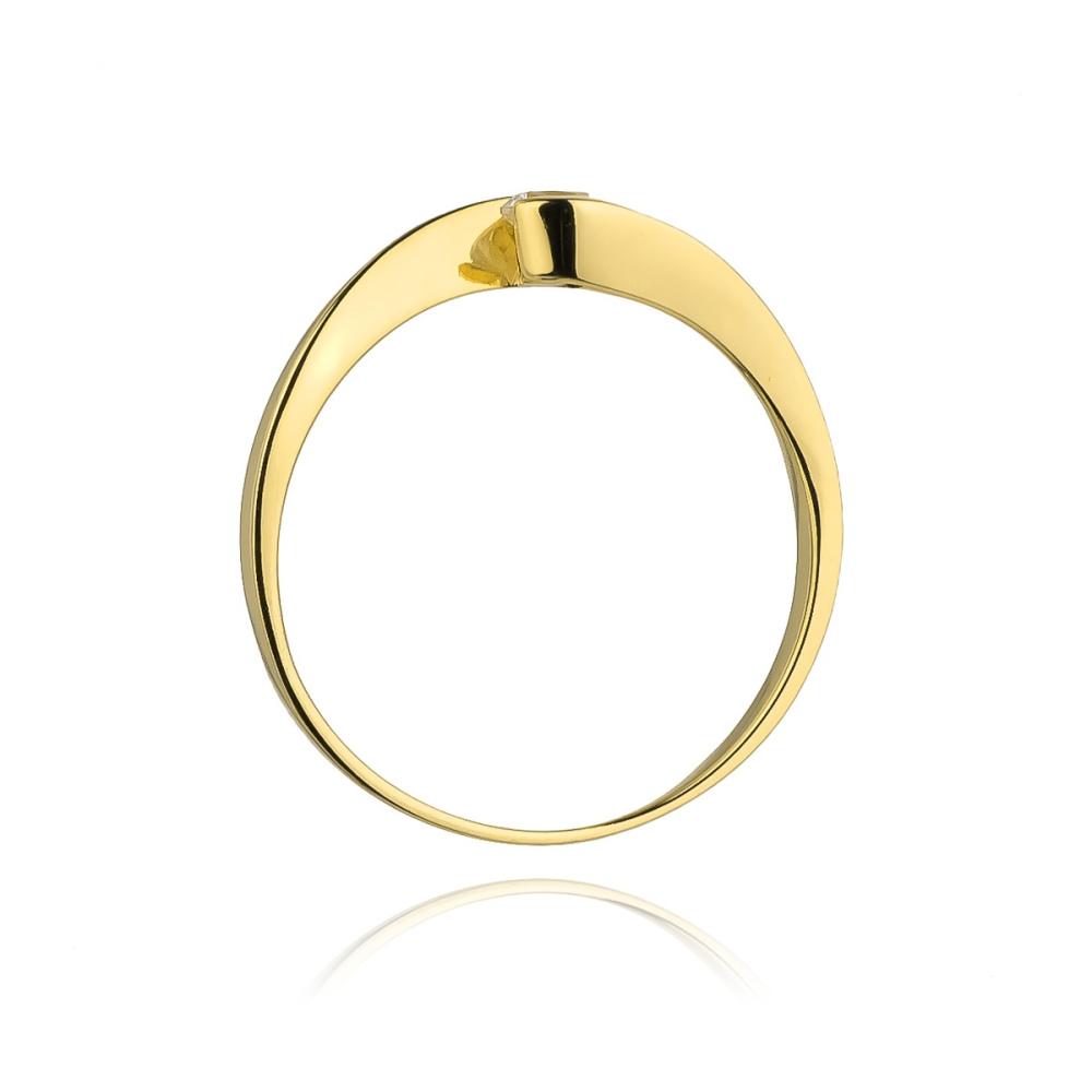 Pierścionek zaręczynowy 585 złoto z brylantem 0,13ct