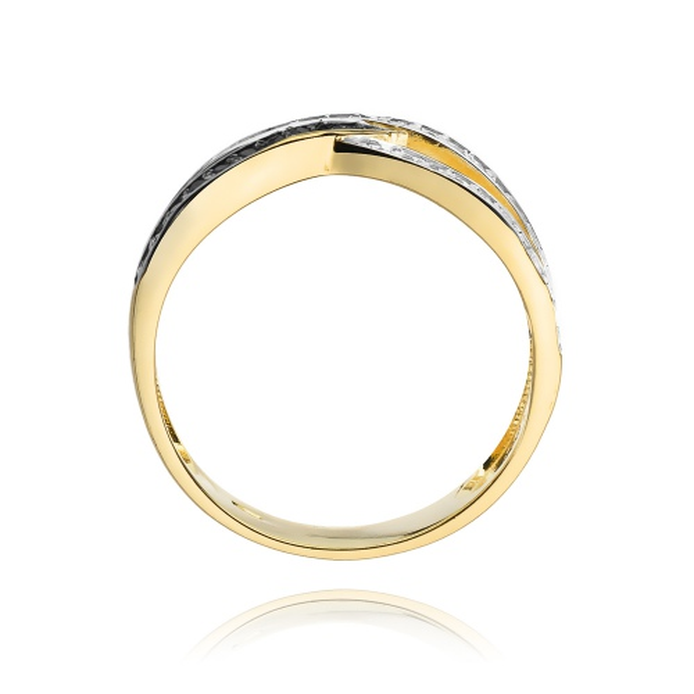 Pierścionek zaręczynowy 585 złoto z czarnymi i białymi brylantami 0,27ct