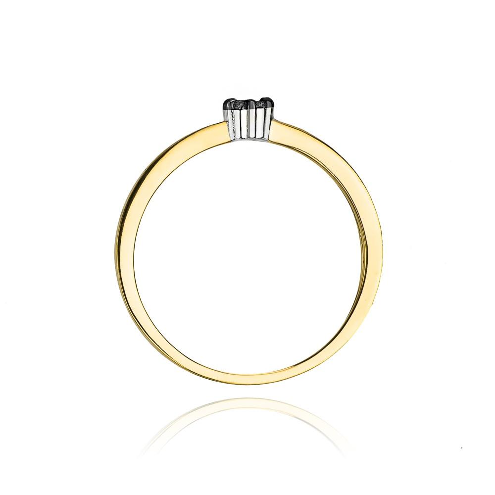 Pierścionek zaręczynowy 585 złoto z czarnymi brylantami 0,04ct