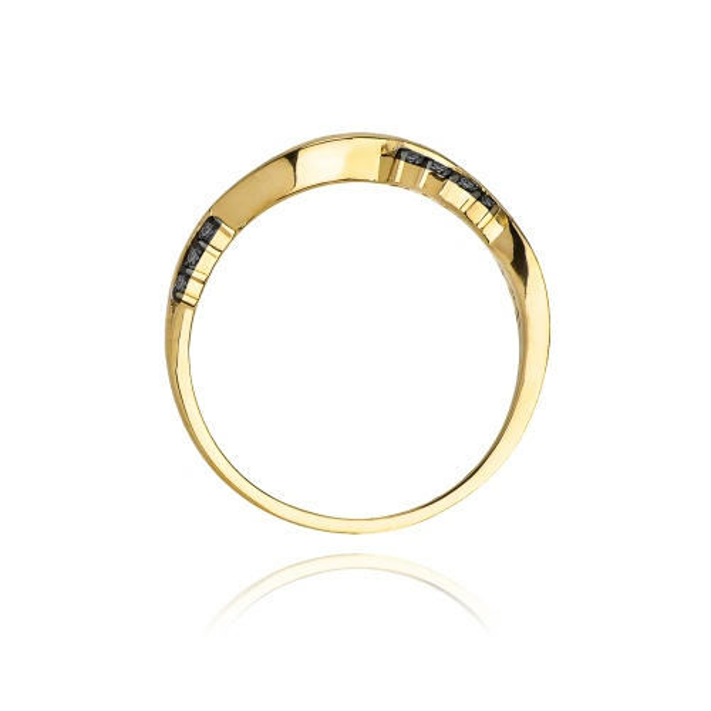 Pierścionek zaręczynowy 585 złoto z czarnymi brylantami 0,07ct