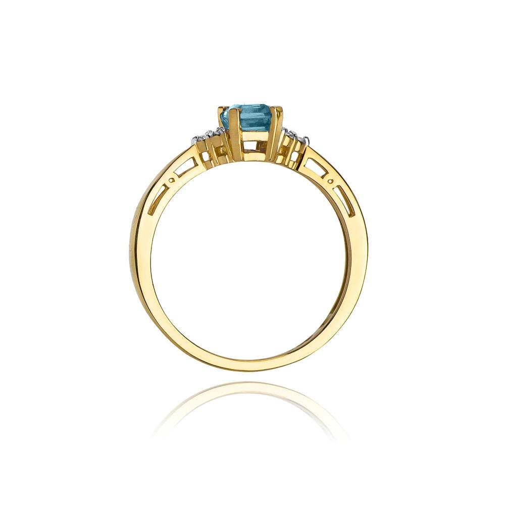 Pierścionek zaręczynowy 585 złoto z topazem 0,60ct i brylantami