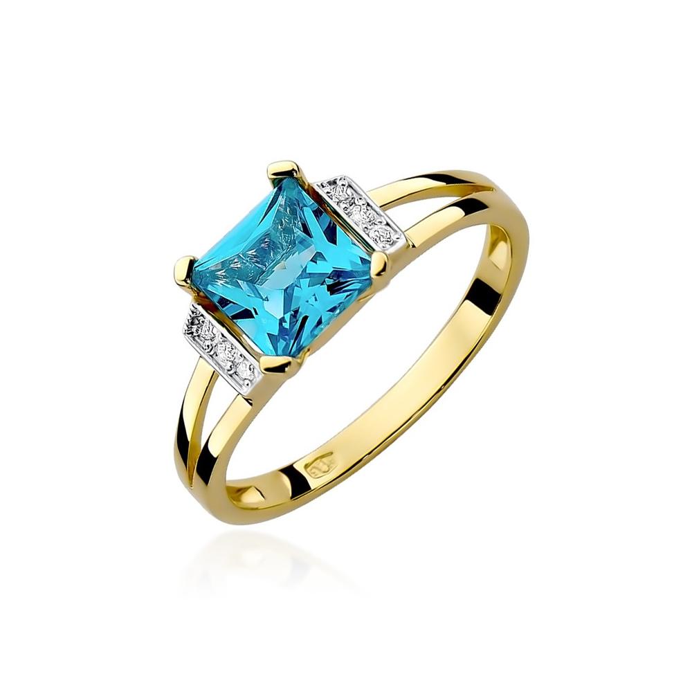 Pierścionek zaręczynowy 585 złoto z topazem 1,40ct i brylantami