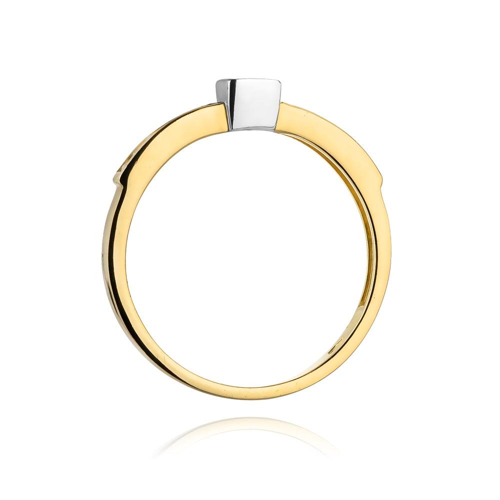 Pierścionek zaręczynowy 585 złoto z szafirem 0,20ct i brylantami