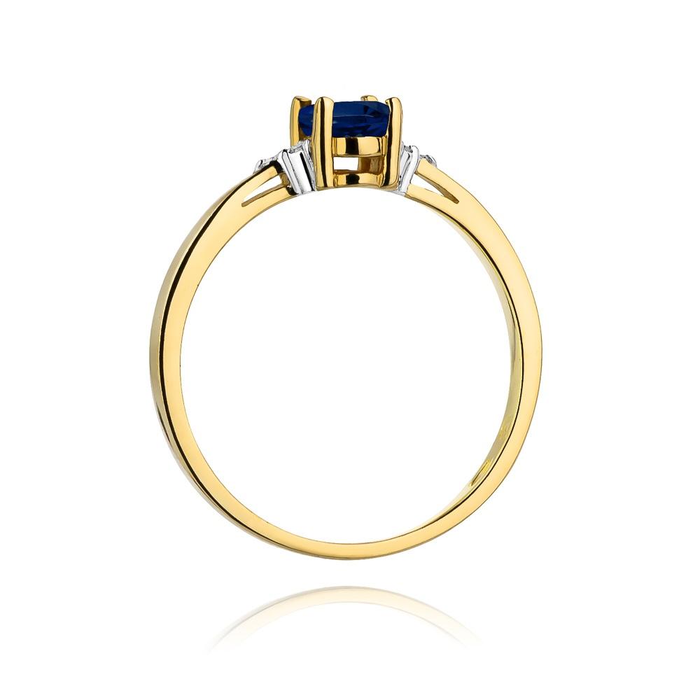 Pierścionek zaręczynowy 585 złoto z szafirem 0,70ct i brylantami