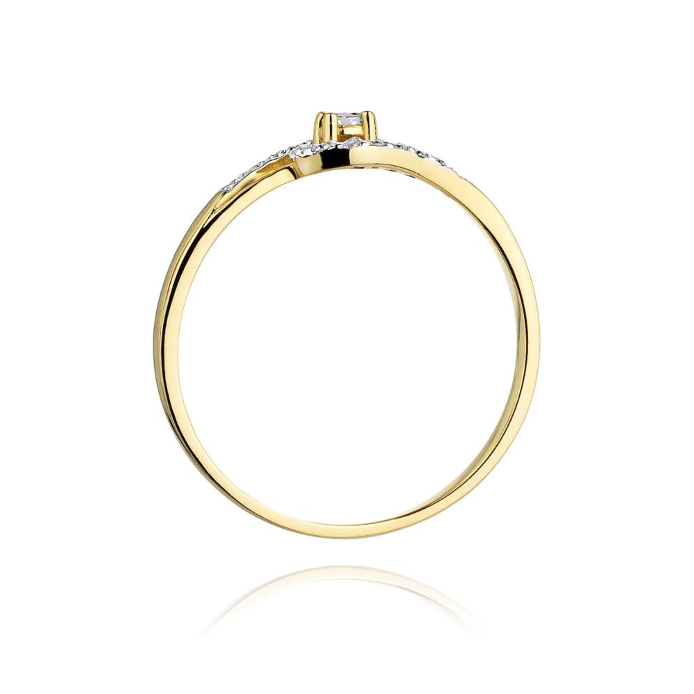 Pierścionek zaręczynowy 585 złoto z brylantem 0,11ct