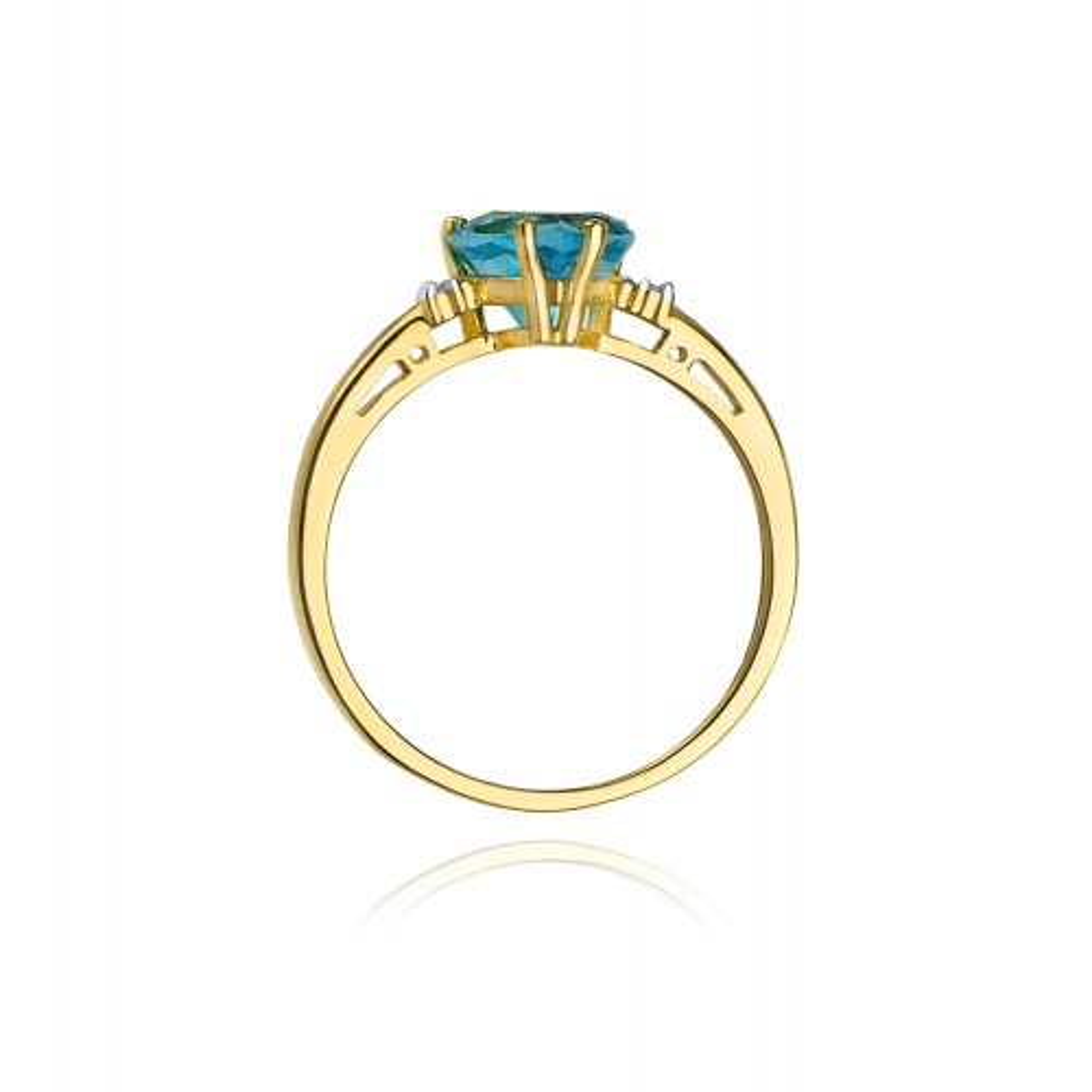 Pierścionek zaręczynowy 585 złoto z topazem 1,20ct i brylantami
