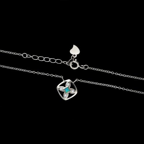 Srebrny naszyjnik z cyrkoniami - Marokańska Koniczyna pr.925