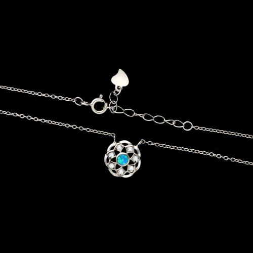 Srebrny naszyjnik z cyrkoniami - Wianek pr.925