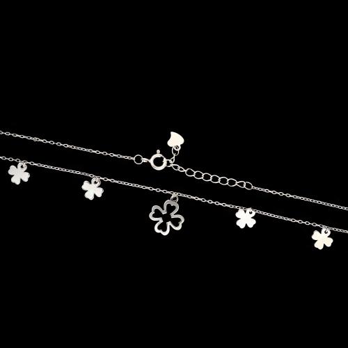 Srebrny naszyjnik celebrytka - Koniczyny pr.925