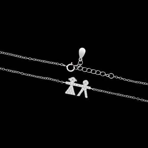 Srebrny naszyjnik z cyrkoniami - Dzieci pr.925