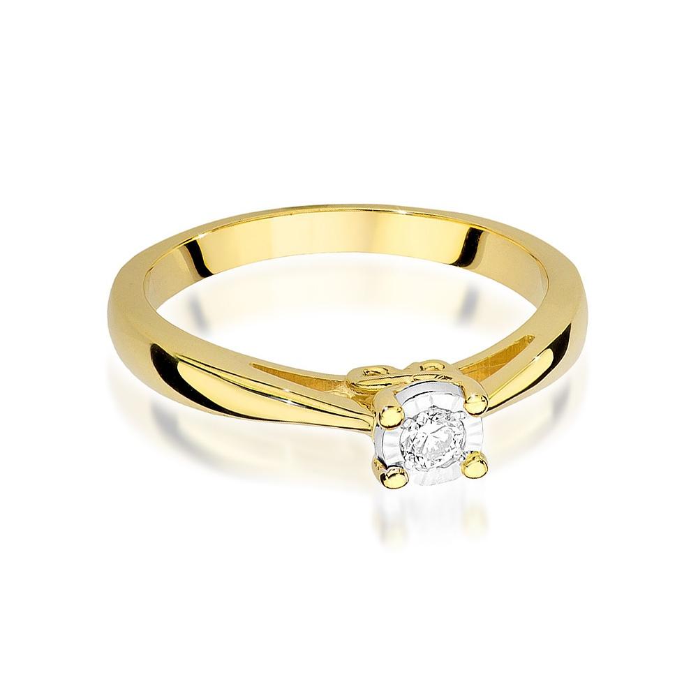 Pierścionek zaręczynowy z brylantem 0,08ct pr.585