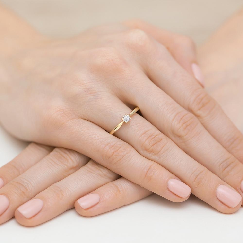 Pierścionek zaręczynowy z brylantami 0,01ct pr.585