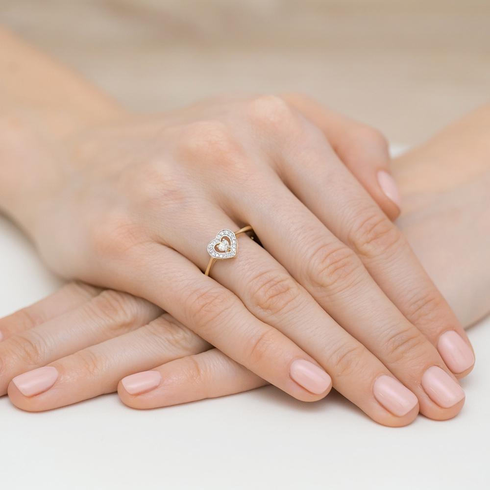 Pierścionek zaręczynowy z brylantami 0,19ct - Serce pr.585