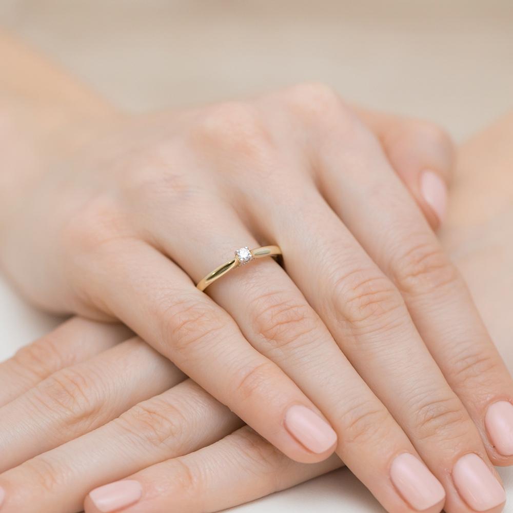 Pierścionek zaręczynowy z brylantami 0,23ct pr.585
