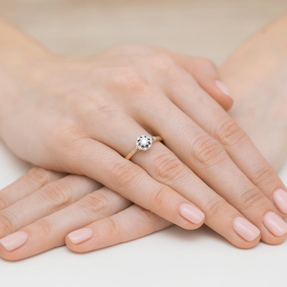 Pierścionek zaręczynowy z brylantami 0,28ct pr.585
