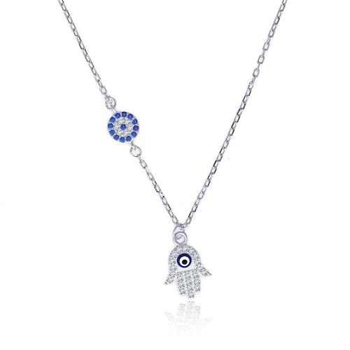 Srebrny naszyjnik z cyrkoniami - Ręka Fatimy  pr.925
