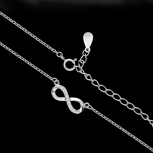 Srebrny naszyjnik z cyrkoniami - Nieskończoność pr.925