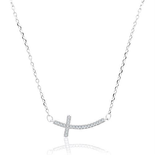 Srebrny naszyjnik z cyrkoniami - Krzyżyk pr.925