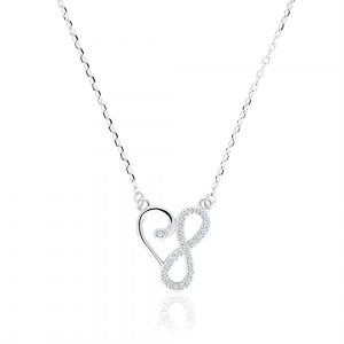 Srebrny naszyjnik z cyrkoniami - Nieskończona Miłość pr.925