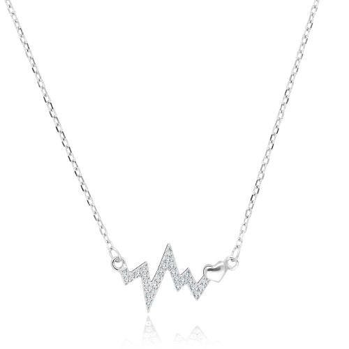 Srebrny naszyjnik z cyrkoniami - Linia Życia pr.925