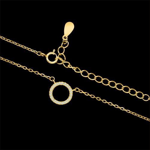Pozłacany naszyjnik z cyrkoniami - Ring pr.925
