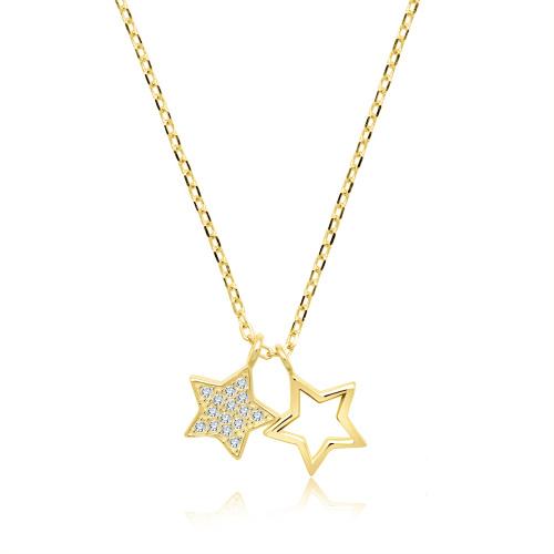 Pozłacany naszyjnik z cyrkoniami - Gwiazdy pr.925