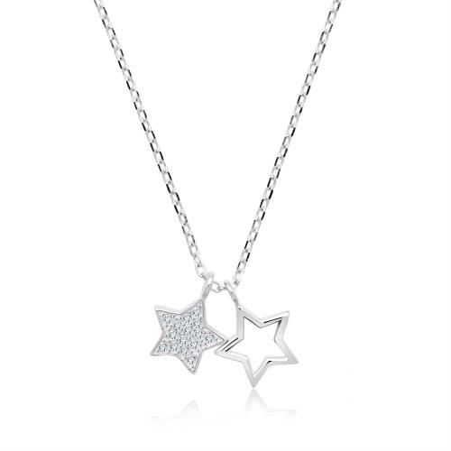 Srebrny naszyjnik z cyrkoniami - Gwiazdy pr.925