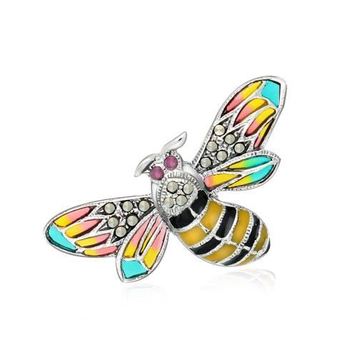 Srebrna broszka z markazytami - Pszczoła pr.925