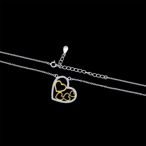 Srebrny naszyjnik z cyrkoniami - Połączone Serca  pr.925