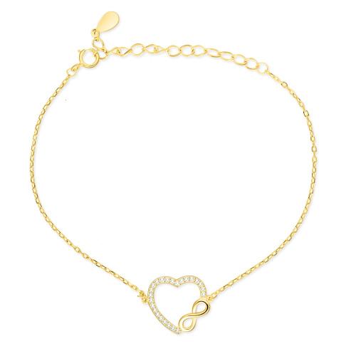 Pozłacana bransoletka z cyrkoniami - Nieskończona Miłość pr.925