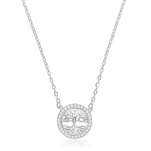 Srebrny naszyjnik z cyrkoniami - Drzewko Szczęścia  pr.925