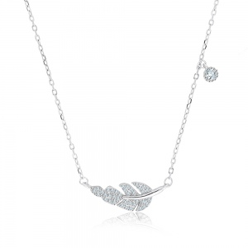 Srebrny naszyjnik z cyrkoniami - Liść pr.925