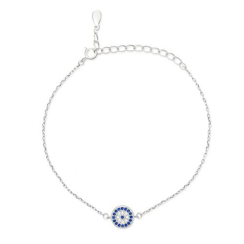 Srebrna bransoletka z cyrkoniami - Oczko pr.925
