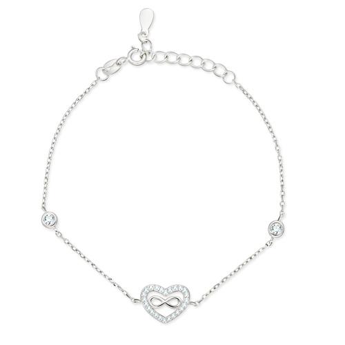 Srebrna bransoletka z cyrkoniami - Nieskończona Miłość pr.925