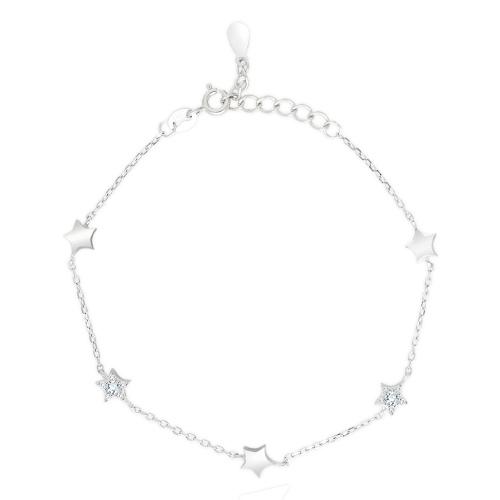 Srebrna bransoletka z cyrkoniami - Gwiazdy pr.925