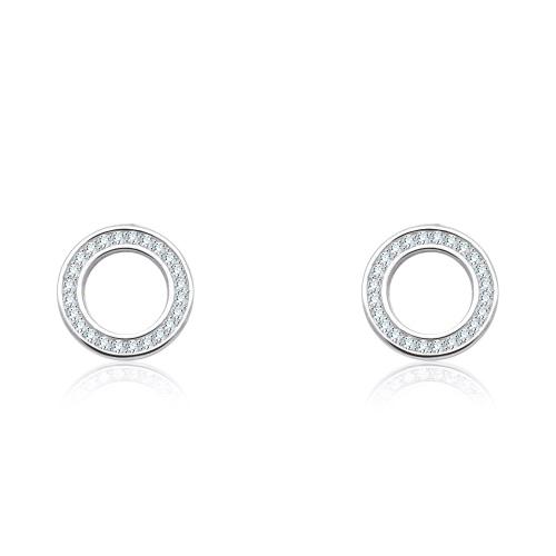 Srebrne kolczyki z cyrkoniami - Ringi pr.925