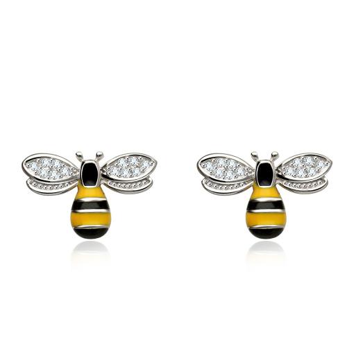 Srebrne kolczyki z cyrkoniami - Pszczoły pr.925