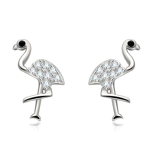 Srebrne kolczyki z cyrkoniami - Flamingi pr.925