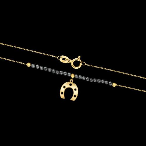 Złoty naszyjnik z hematytem - Podkowa pr.585