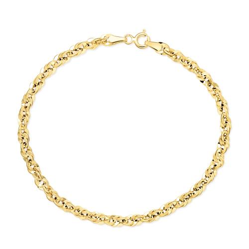 Złota bransoletka - Ozdobny Splot 18cm pr. 585
