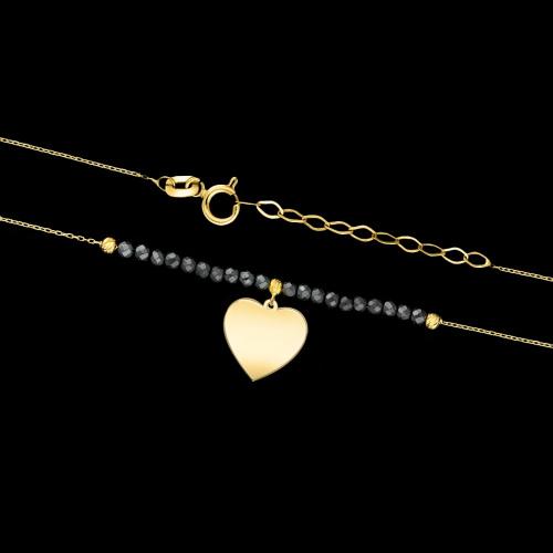 Złoty naszyjnik z hematytem - Serce pr.585